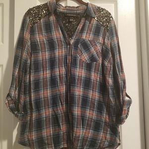 Wendy Bellissimo trendy/shimmer/buttonup flannel